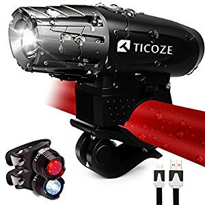 TICOZE Bike Light Set, USB Pro Rechargeable Headlight with Free LED Tail Lights