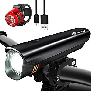 TOPTREK Bike Light Set Bicycle Lights USB Rechargeable Cycling Front Light and Back Rear Light kit